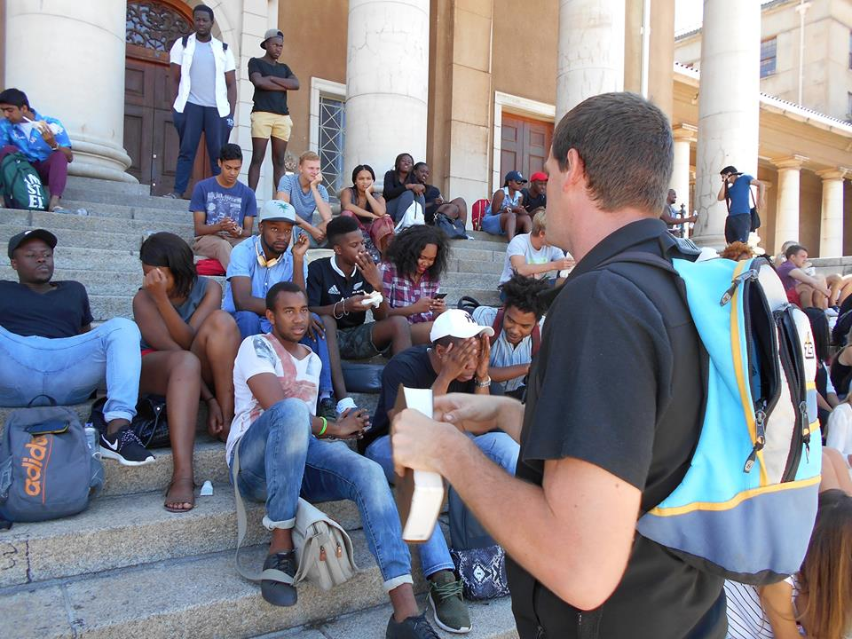 Abrie open air preaching at UCT march 2016