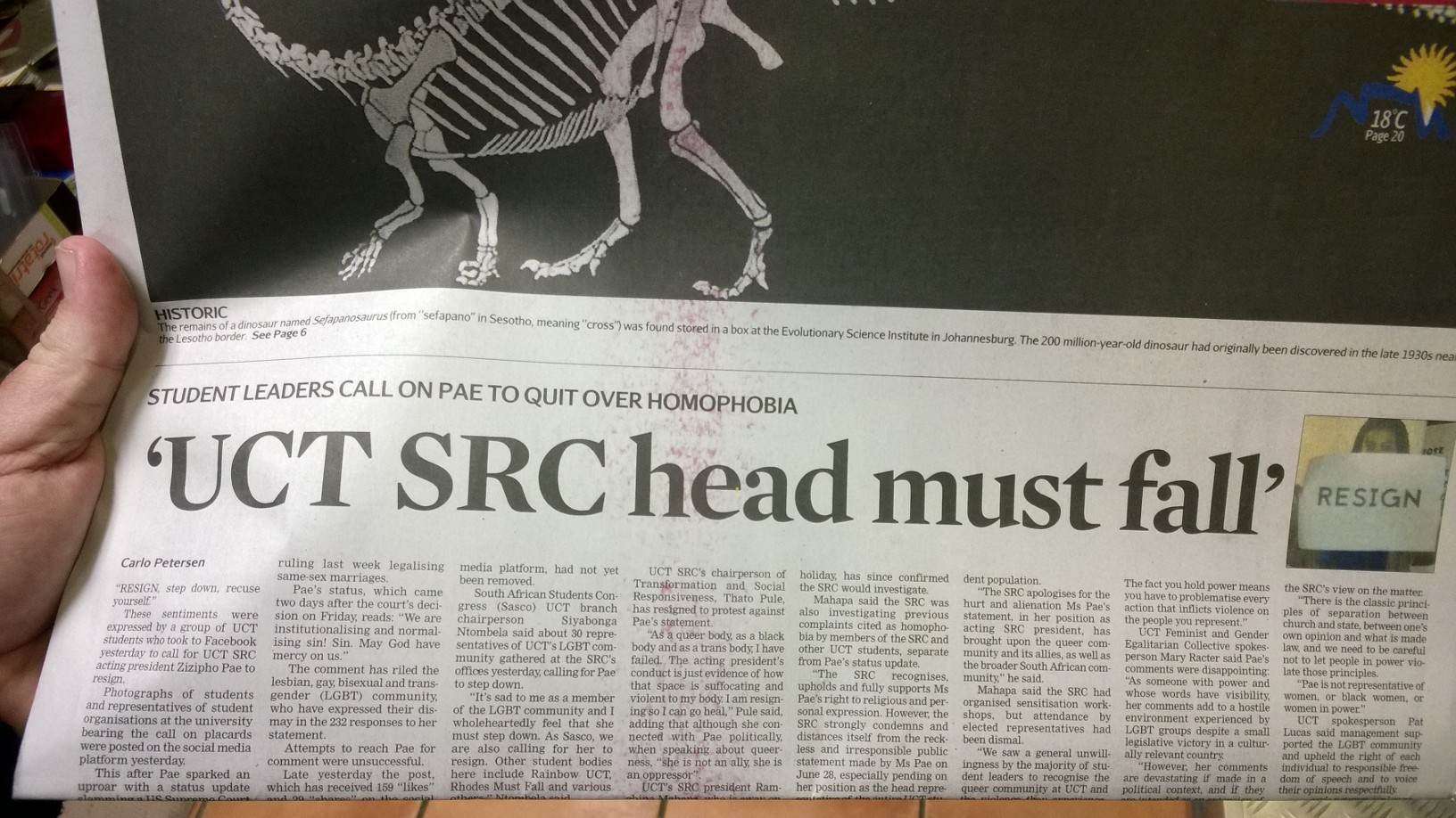 UCT SRC head Must Fall newspaper headline